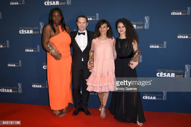 Deborah Lukumuena Marc Benoit Creancier Houda Benyamina and Oulaya Amamra attend the Cesar Film Awards 2017 at Salle Pleyel on February 24 2017 in...