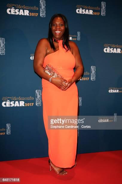 Deborah Lukumuena poses with her award at the Cesar Film Awards 2017 at Salle Pleyel on February 24 2017 in Paris France