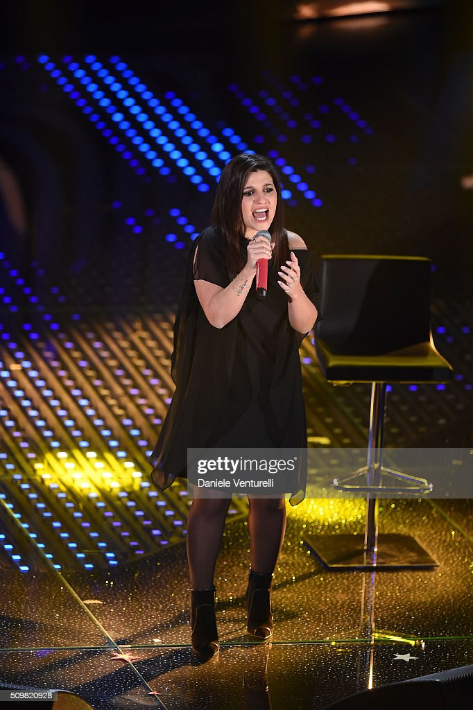 Deborah Lurato attends the fourth night of the 66th Festival di Sanremo 2016 at Teatro Ariston on February 12, 2016 in Sanremo, Italy.
