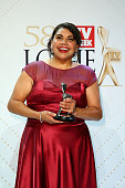 Deborah Mailman poses with the Logie Award for Most Outstanding Actress 'Redfern Now Promise Me' during the 58th Annual Logie Awards at Crown...