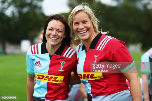 Deborah McCormack and Zoe Saynor pose for a portrait during the Harlequins Ladies Squad Photo call for the 2017/18 Tyrrells Premier 15s Season at...