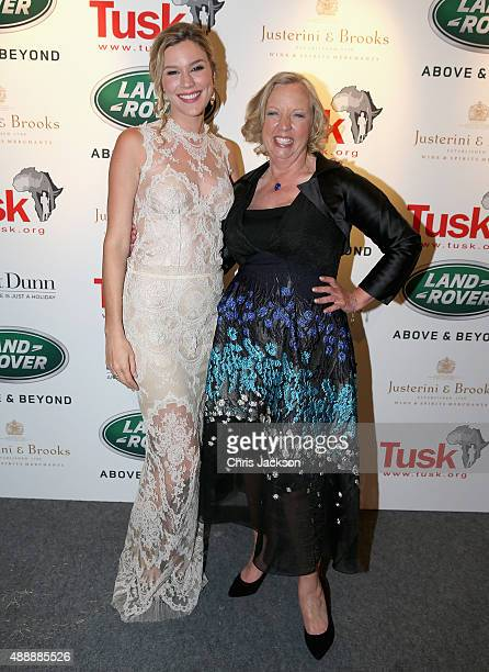Deborah Meaden and Joss Stone pose for a photogaph at the Tusk 25th Anniversary Ball at Syon Park on September 17 2015 in London England