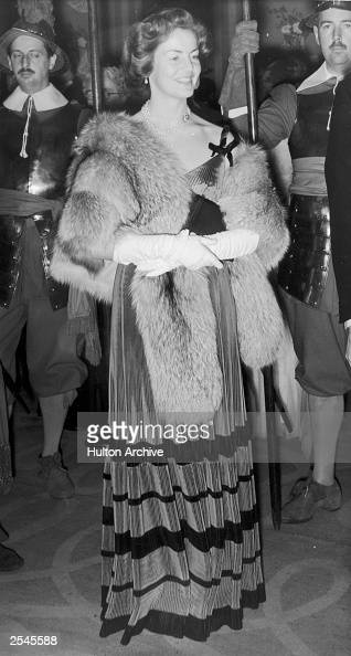 Deborah Mitford the Duchess of Devonshire at a banquet given by the Royal Society of St George
