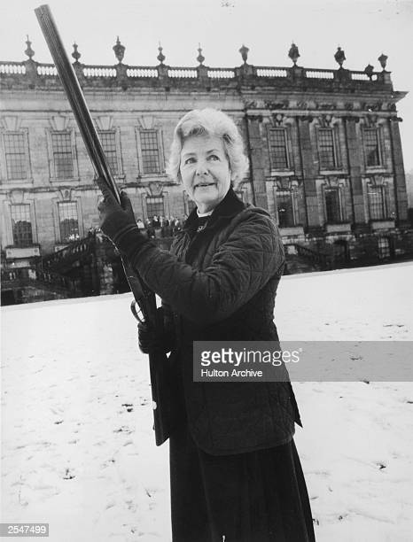Deborah Mitford the Duchess of Devonshire out shooting 25th March 1980