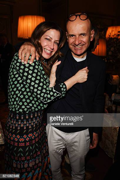 Deborah Needleman and Giovanni Mannucci attend the T Celebration of Culture Issue And Milan Design Week at Palazzo Crespi on April 11 2016 in Milan...
