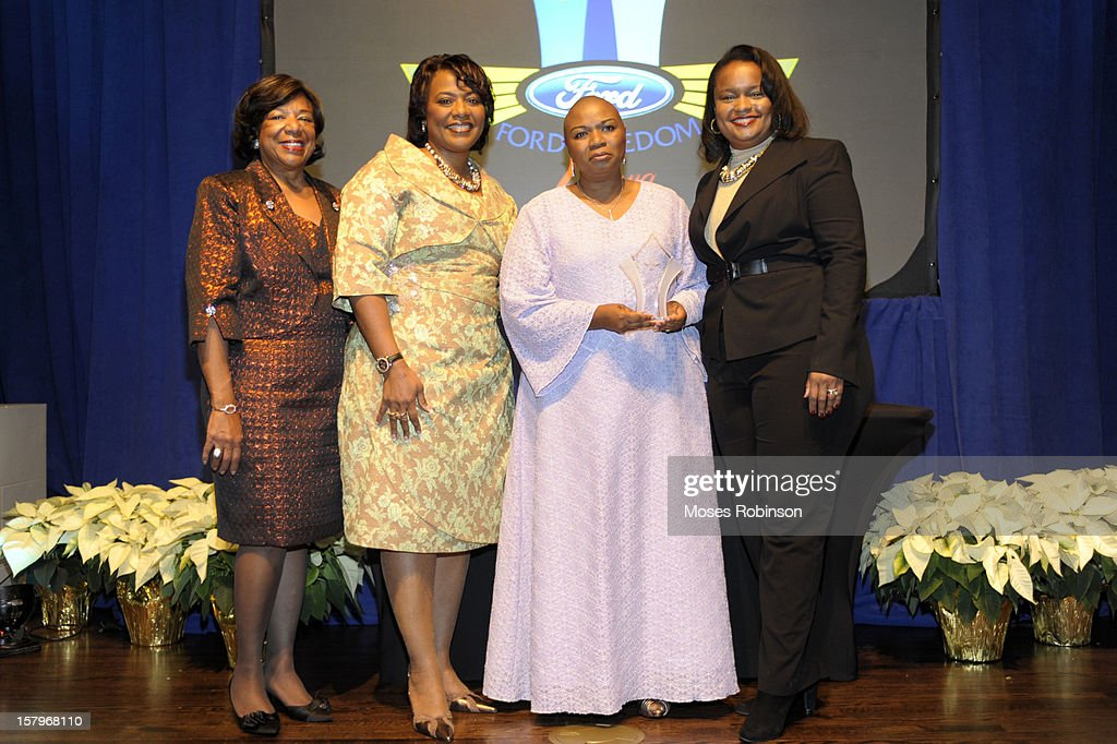 Deborah Richardson, Rev. Dr. <a gi-track='captionPersonalityLinkClicked' href=/galleries/search?phrase=Bernice+King&family=editorial&specificpeople=786095 ng-click='$event.stopPropagation()'>Bernice King</a>, Lisa C. Willimas and Director of Community for Ford Motor Company Pamela Alexander attend the 2012 Ford Freedom Usung Awards ceremony at Historic Academy of Medicine at Georgia Institute of Technology on December 7, 2012 in Atlanta, Georgia.