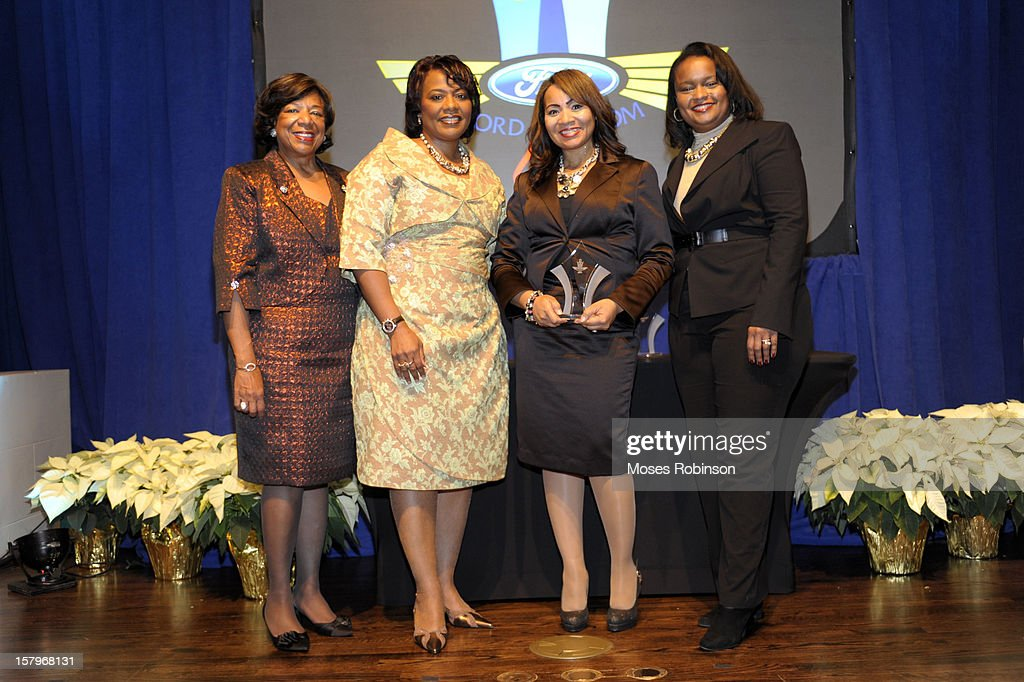 Deborah Richardson, Rev. Dr. <a gi-track='captionPersonalityLinkClicked' href=/galleries/search?phrase=Bernice+King&family=editorial&specificpeople=786095 ng-click='$event.stopPropagation()'>Bernice King</a>, Sheila Tenney and Director of Community Development for Ford Motor Company Pamela Alexander attend the 2012 Ford Freedom Usung Awards ceremony at Historic Academy of Medicine at Georgia Institute of Technology on December 7, 2012 in Atlanta, Georgia.