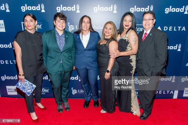Deborah S Esquenazi Anna Vasquez Elizabeth Ramirez Cassandra Rivera Kristie Mayhugh and Sam Tabet attend the 28th Annual GLAAD Awards at New York...