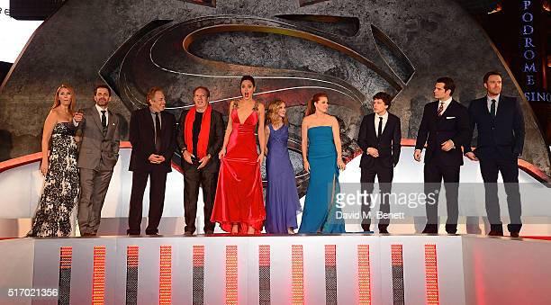 Deborah Snyder Zack Synder Charles Roven Hans Zimmer Gal Gadot Holly Hunter Amy Adams Jesse Eisenberg Henry Cavill and Ben Affleck attend the...