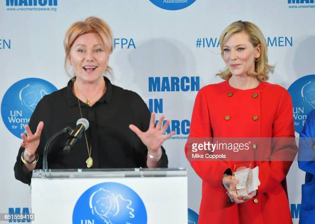 DeborraLee Furness accepts an award from actress Cate Blanchett at the 2017 UN Women for Peace Association March In March Awards Luncheon at ONE UN...