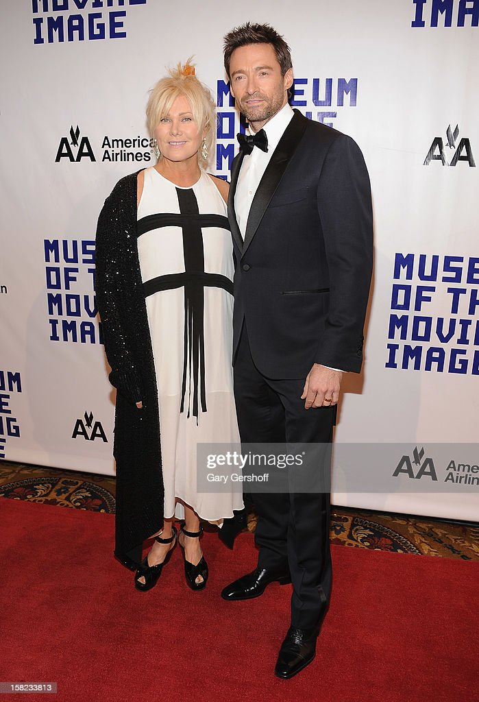 Deborra-Lee Furness (L) and event honoree Hugh Jackman attend the Museum Of Moving Image Salute To Hugh Jackman at Cipriani Wall Street on December 11, 2012 in New York City.