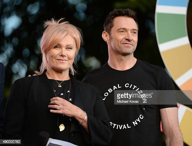 DeborraLee Furness and Hugh Jackman present onstage at the 2015 Global Citizen Festival to end extreme poverty by 2030 in Central Park on September...