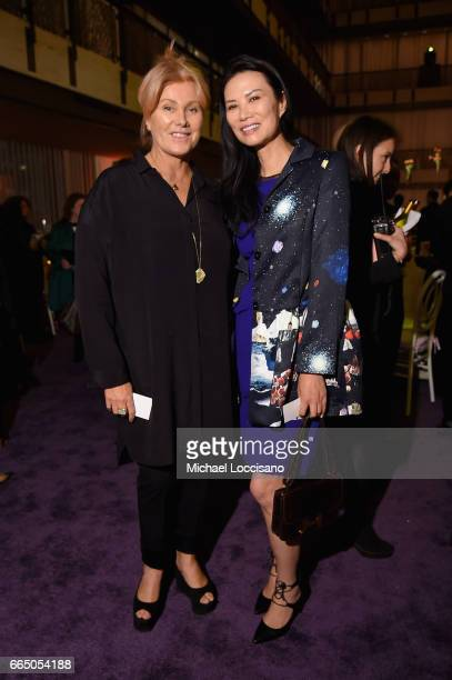 DeborraLee Furness and Wendi Deng attend the Eighth Annual Women In The World Summit at Lincoln Center for the Performing Arts on April 5 2017 in New...