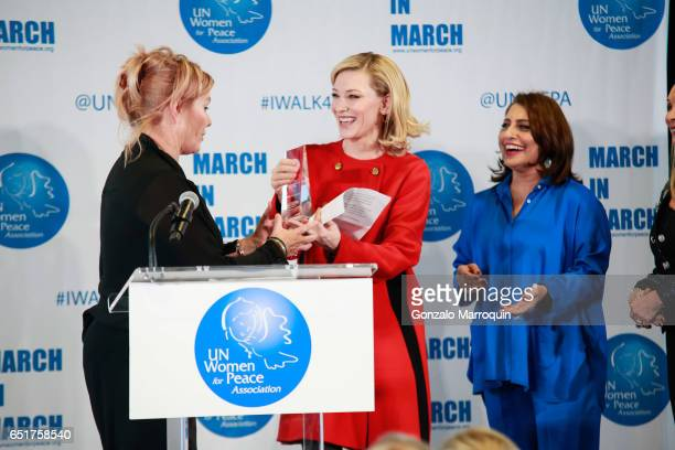 DeborraLee Furness Cate Blanchett and Muna Rihani AlNasser attended The United Nations Women for Peace Association's Annual Awards Luncheon on March...