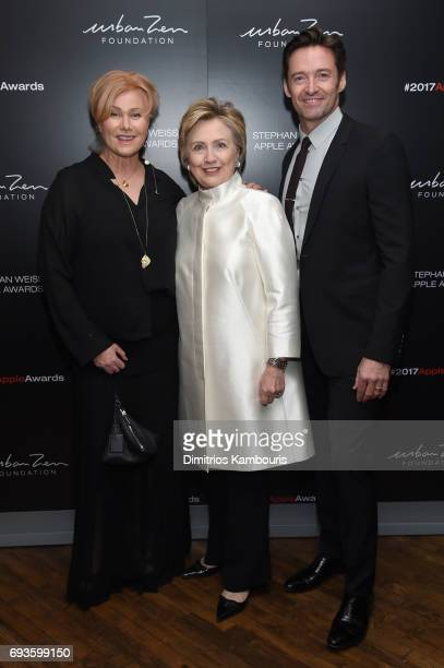 DeborraLee Furness Hillary Rodham Clinton and Hugh Jackman attend the 2017 Stephan Weiss Apple Awards on June 7 2017 in New York City