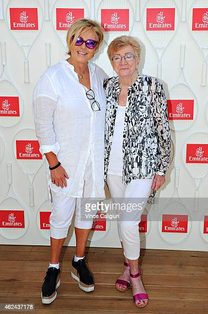 DeborraLee Furness poses with mother Fay Duncan at the Emirates Ladies Lunch at Melbourne Park on January 29 2015 in Melbourne Australia