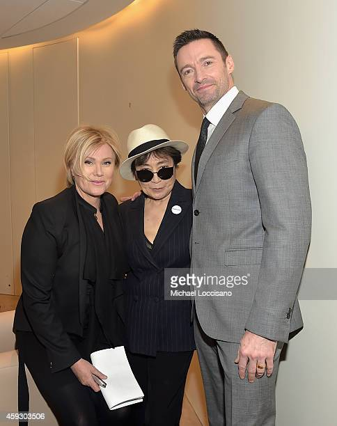 DeborraLee Furness Yoko Ono and Hugh Jackman attend the UNICEF launch of the #IMAGINE Project to celebrate the 25th Anniversary of the rights of a...