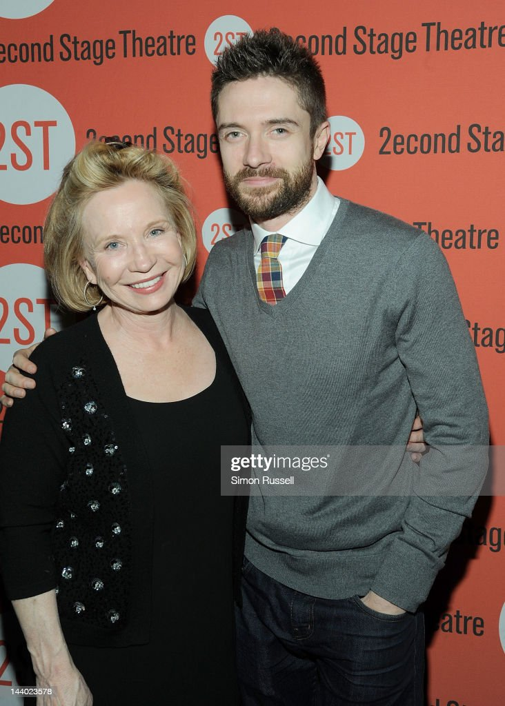 <a gi-track='captionPersonalityLinkClicked' href=/galleries/search?phrase=Debra+Jo+Rupp&family=editorial&specificpeople=647661 ng-click='$event.stopPropagation()'>Debra Jo Rupp</a> and <a gi-track='captionPersonalityLinkClicked' href=/galleries/search?phrase=Topher+Grace&family=editorial&specificpeople=203130 ng-click='$event.stopPropagation()'>Topher Grace</a> attend 'Lonely I'm Not' Off Broadway Opening Night at HB Burger on May 7, 2012 in New York City.