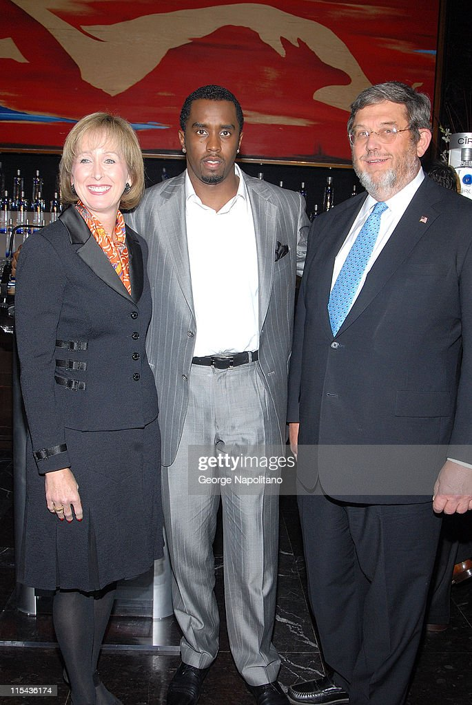 Debra Kelley chief Marketing Officer of Diageo Sean 'Diddy' Combs and Guy Smith Executive VP of Diageo announce their alliance at a press conference...