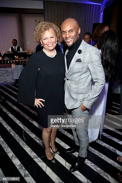 Debra L Lee and singer Kenny Lattimore attend Pre ABFF Honors Cocktail Party hosted by Debra L Lee Jeff Friday at Cecconi's on February 16 2017 in...