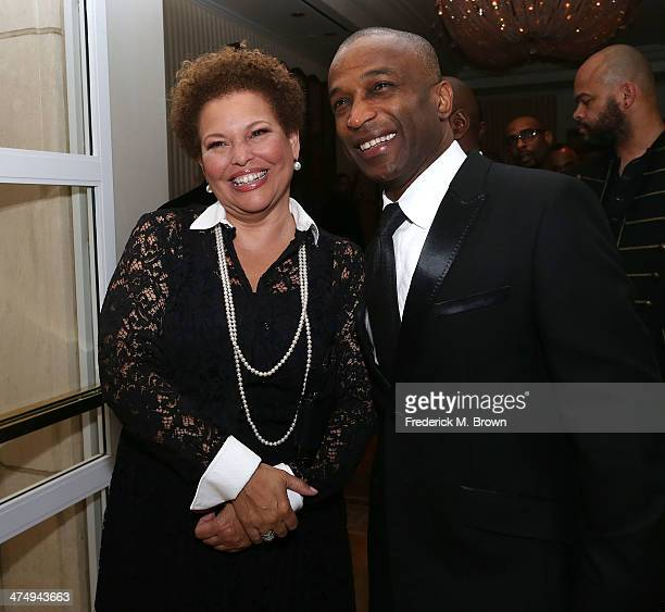Debra L Lee CEO of BET and her guest attend the ICON MANN Second Annual POWER 50 PreOscar Dinner at The Peninsula Hotel on February 25 2014 in...