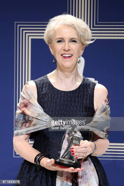 Debra Lawrance poses with the Logie Award for Most Outstanding Supporting Actress 'Please Like Me' during the 59th Annual Logie Awards at Crown...