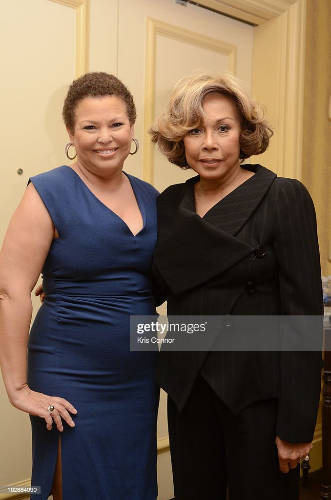 Debra Lee and Diahann Caroll pose for a photo during cocktails and dinner for Leading Women Defined at Ritz Carlton Hotel on February 28, 2013 in Washington, DC.