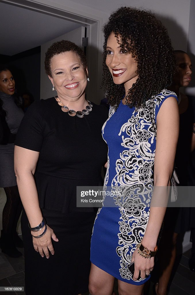 Debra Lee and Elaine Welteroth pose for a photo during the Leading Women Defined: First Ladies Reception on February 27, 2013 in Washington, DC.