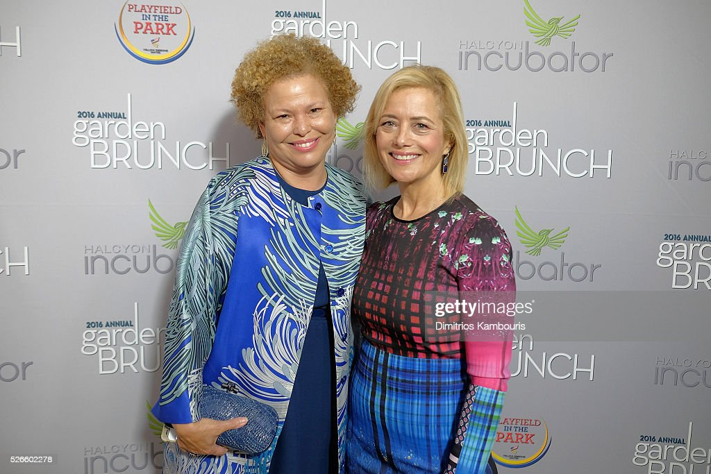 Debra Lee (L) and Hilary Rosen attend the Garden Brunch prior to the 102nd White House Correspondents' Association Dinner at the Beall-Washington House on April 30, 2016 in Washington, DC.