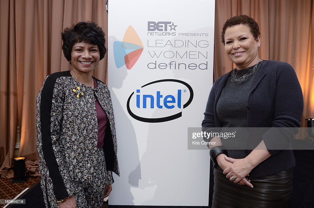 Debra Lee and Rosalind Hudnell attend the Leading Women Defined: Intel Presents Developing Your Personal Brand Mentoring Session on February 28, 2013 in Washington, DC.