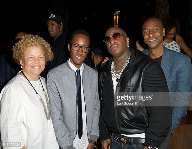 CEO Debra Lee Executive Producer Lemuel Plummer rapper Birdman and Head Of Programming for BET Stephen Hill attend BET 'Music Moguls' Premiere Event...