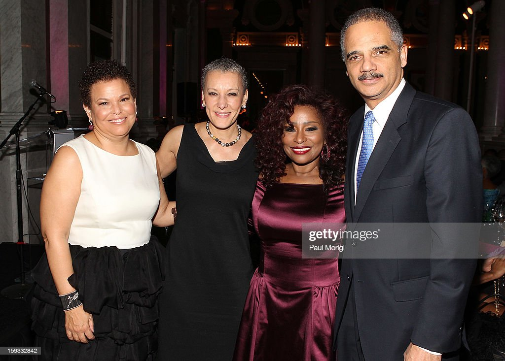 Debra Lee, Sharon Malone, <a gi-track='captionPersonalityLinkClicked' href=/galleries/search?phrase=Chaka+Khan&family=editorial&specificpeople=208691 ng-click='$event.stopPropagation()'>Chaka Khan</a>, and <a gi-track='captionPersonalityLinkClicked' href=/galleries/search?phrase=Eric+Holder&family=editorial&specificpeople=1060367 ng-click='$event.stopPropagation()'>Eric Holder</a> attend BET Honors 2013: Debra Lee Pre-Dinner at The Library of Congress on January 11, 2013 in Washington, DC.