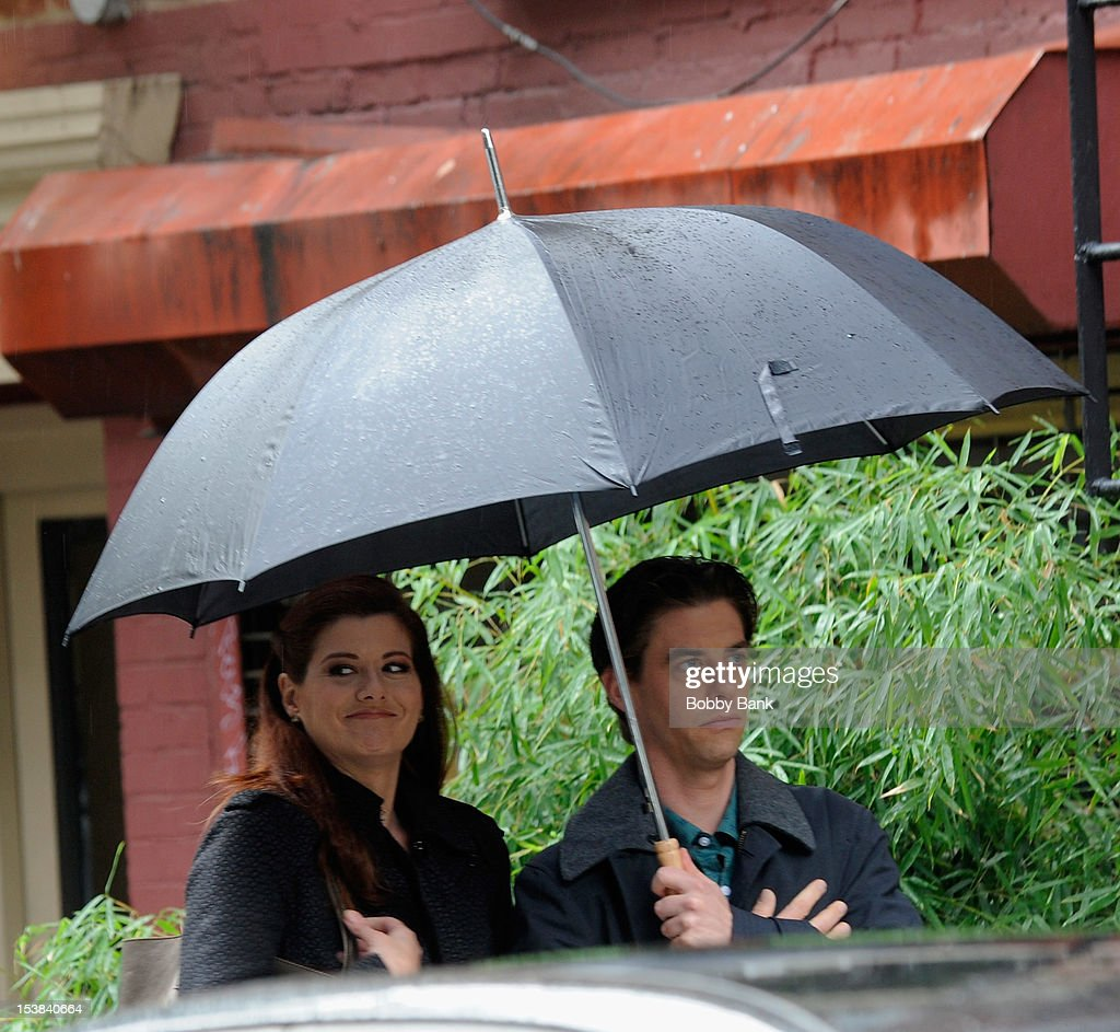 <a gi-track='captionPersonalityLinkClicked' href=/galleries/search?phrase=Debra+Messing&family=editorial&specificpeople=202114 ng-click='$event.stopPropagation()'>Debra Messing</a> and Chrisian Borle filming on location for 'Smash' on October 9, 2012 in New York City.