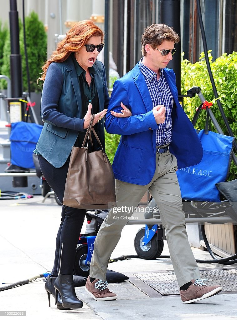 Debra Messing and Christian Borle are seen on the set of 'Smash' on August 8, 2012 in New York City.