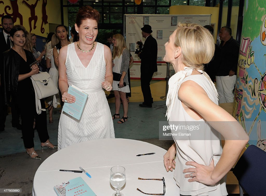 Debra Messing and Dr. Wednesday Martin attend 'Primates of Park Avenue' by Dr. Wednesday Martin Release Event at the Children's Museum of the East End on June 20, 2015 in New York City.