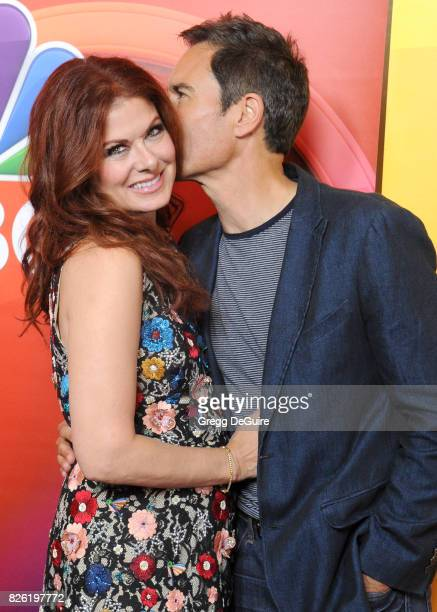 Debra Messing and Eric McCormack arrive at the 2017 Summer TCA Tour NBC Press Tour at The Beverly Hilton Hotel on August 3 2017 in Beverly Hills...