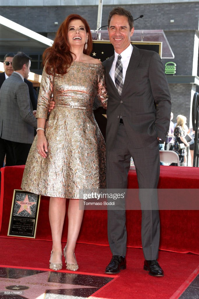 Debra Messing and Eric McCormack attend a Ceremony Honoring Debra Messing With Star On The Hollywood Walk Of Fame on October 6, 2017 in Hollywood, California.