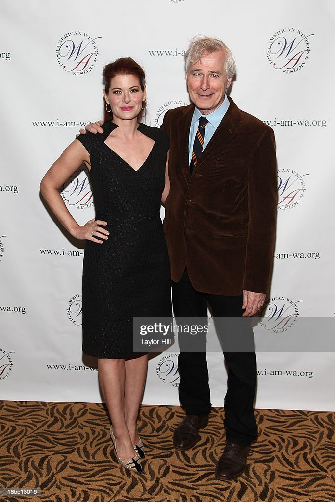 <a gi-track='captionPersonalityLinkClicked' href=/galleries/search?phrase=Debra+Messing&family=editorial&specificpeople=202114 ng-click='$event.stopPropagation()'>Debra Messing</a> and <a gi-track='captionPersonalityLinkClicked' href=/galleries/search?phrase=John+Patrick+Shanley&family=editorial&specificpeople=213726 ng-click='$event.stopPropagation()'>John Patrick Shanley</a> attend the 2013 Eugene O'Neill Lifetime Achievement Award gala at The Manhattan Club at Rosie O'Grady's on October 21, 2013 in New York City.