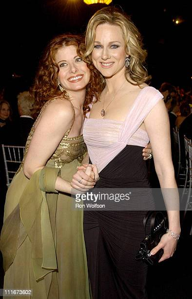 Debra Messing and Laura Linney during 10th Annual Screen Actors Guild Awards Backstage and Audience at Shrine Auditorium in Los Angeles California...