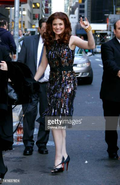Debra Messing arrives for 'The Late Show with David Letterman' at Ed Sullivan Theater on March 20 2012 in New York City