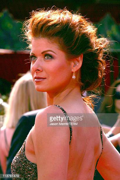 Debra Messing during 57th Annual Primetime Emmy Awards Arrivals at The Shrine in Los Angeles California United States