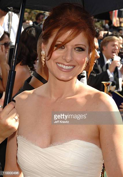 Debra Messing during 58th Annual Primetime Emmy Awards Red Carpet at The Shrine Auditorium in Los Angeles California United States