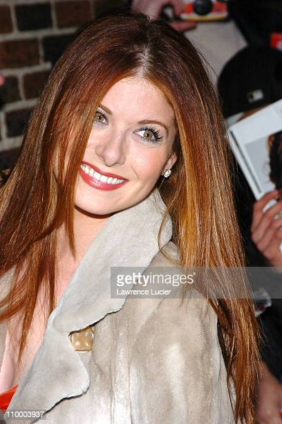 Debra Messing during Debra Messing and Peyton Manning Appear Outside The Late Show with David Letterman February 1 2005 at Ed Sullivan Theater in New...