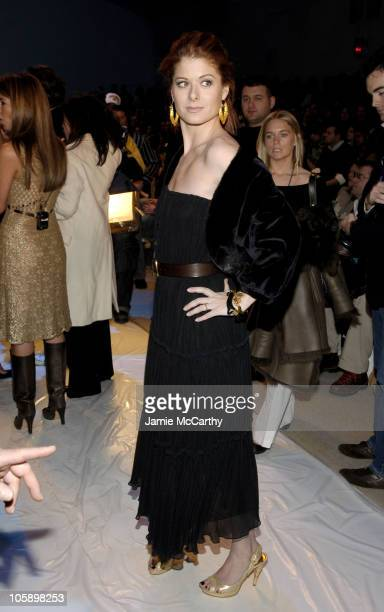 Debra Messing during Olympus Fashion Week Fall 2006 Project Runway Front Row and Backstage at The Promenade Bryant Park in New York City New York...