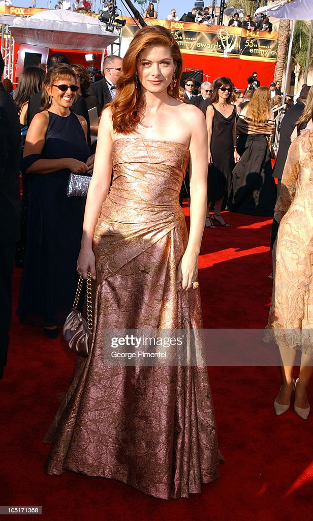 Debra Messing during The 55th Annual Primetime Emmy Awards - Access Hollywood Red Carpet at The Shrine Theater in Los Angeles, California, United States.