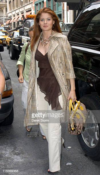 Debra Messing enters Barnes Noble during The Cast Of 'Will Grace' Outside Barnes and Noble September 15 2004 at Outside Barnes And Noble in New York...