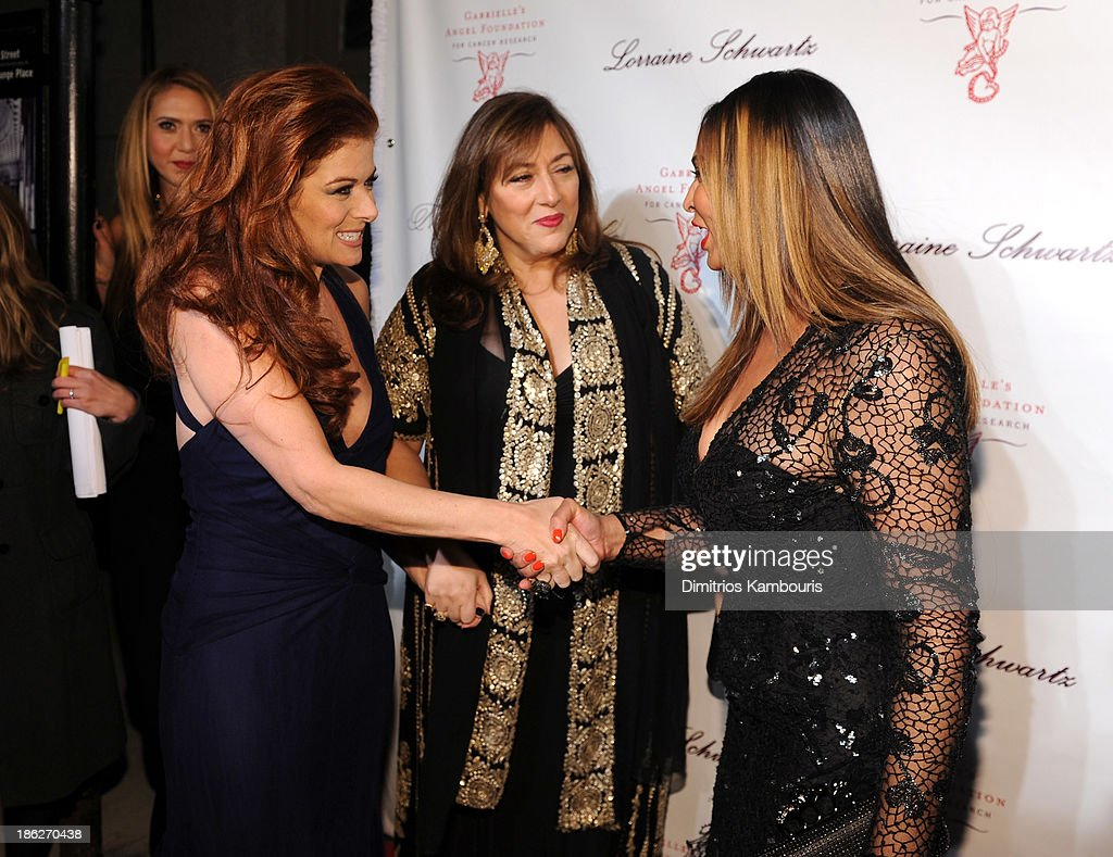 <a gi-track='captionPersonalityLinkClicked' href=/galleries/search?phrase=Debra+Messing&family=editorial&specificpeople=202114 ng-click='$event.stopPropagation()'>Debra Messing</a>, Jewlery Designer Lorraine Schwartz and <a gi-track='captionPersonalityLinkClicked' href=/galleries/search?phrase=Tina+Knowles+-+Fashion+Designer&family=editorial&specificpeople=216560 ng-click='$event.stopPropagation()'>Tina Knowles</a> attend Gabrielle's Angel Foundation Hosts Angel Ball 2013 at Cipriani Wall Street on October 29, 2013 in New York City.