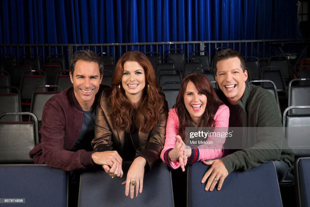 Debra Messing, Megan Mullally, and Sean Hayes of NBC's 'Will & Grace' for Los Angeles Times on September 7, 2017 in Los Angeles, California. PUBLISHED IMAGE.