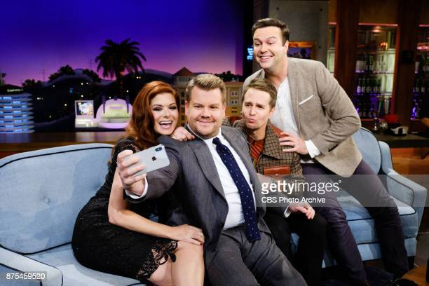 Debra Messing Sam Rockwell and Taran Killam chat with James Corden during 'The Late Late Show with James Corden' Thursday November 16 2017 On The CBS...