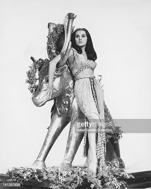 Debra Paget US actress in costume posing against a statue of a bull in a publicity portrait issued for the film 'The Ten Commandments' 1956 The...